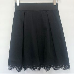 ELLE Lace Trim Black Skirt with Exposed Zipper